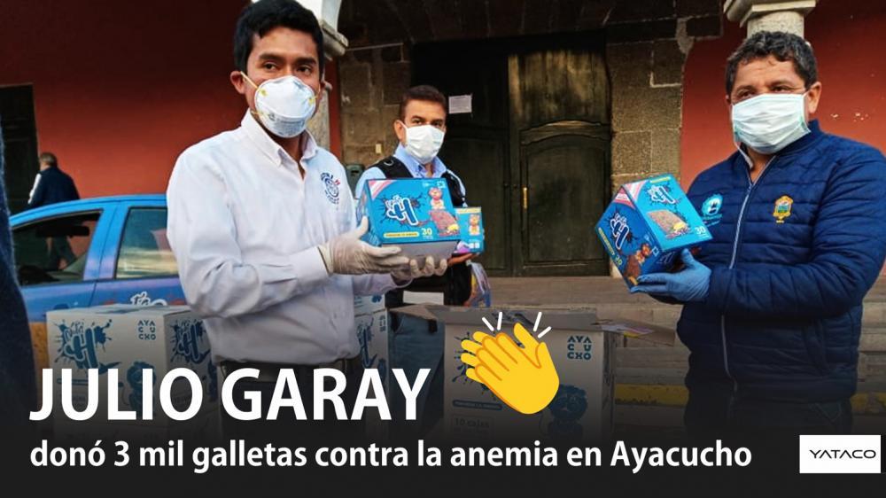 JULIO GARAY donó 3 mil galletas contra la anemia en AYACUCHO