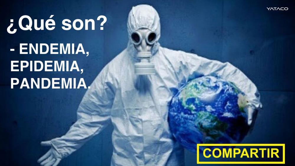 CORONAVIRUS: Diferencia entre pandemia, endemia, epidemia