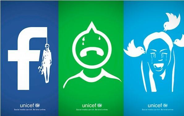 UNICEF presenta esta impactante campaña gráfica que ilustra el bullying a través de las redes sociales